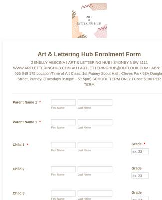 Art & Lettering Hub Enrolment Form