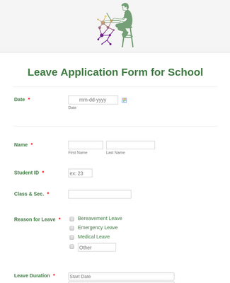 Leave Application Form for School