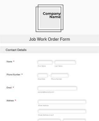 Job Work Order Form