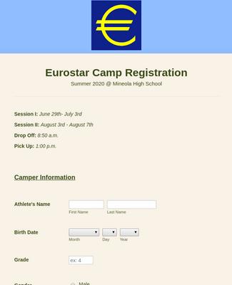 Eurostar Soccer Camp Registration Form