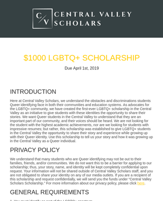 LGBTQ+ Scholarship