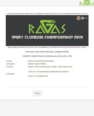 RAGAS SPORT CLIMBING CHAMPIONSHIP 2019 REGISTRATION