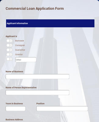 Commercial Loan Application Form