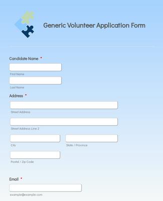 Generic Volunteer Application Form