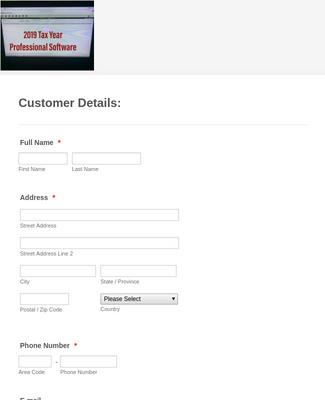 Professional Tax Software Registration Form