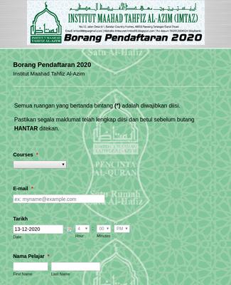 Borang Pendaftaran 2020