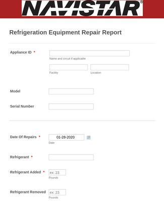 Refrigeration Service Report Form