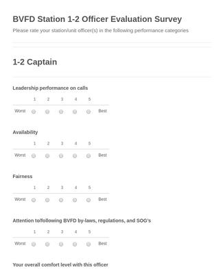 BVFD Station 1-2 Officer Evaluation Survey