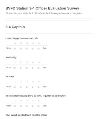 BVFD Station 3-4 Officer Evaluation Survey