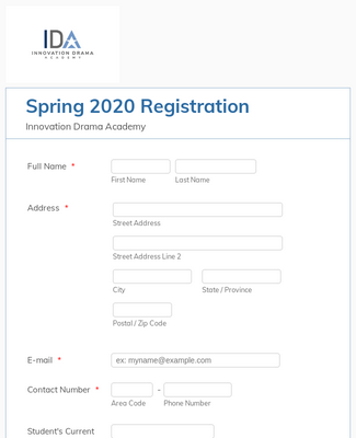 IDA Moana Jr. Musical Production Registration Form