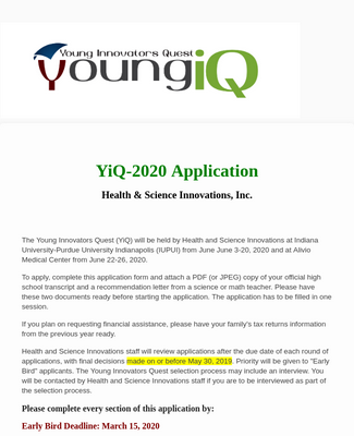 2020 Young Innovators Quest Application