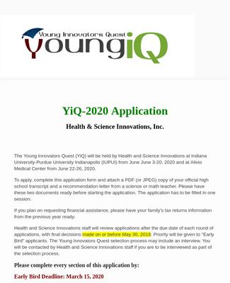 2020 Young Innovators Quest Application