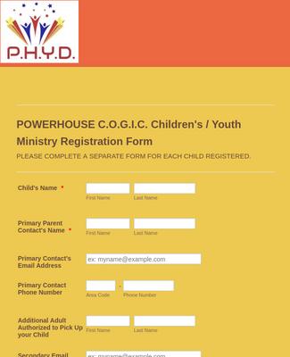 Powerhouse C.O.G.I.C. Children's/Youth Ministry Registration Form