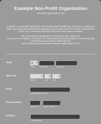 Volunteer Application Form for Non-Profit
