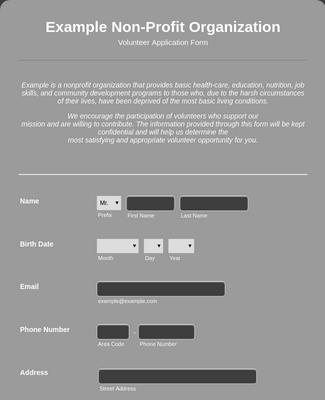 Volunteer Application Form for Non-Profit