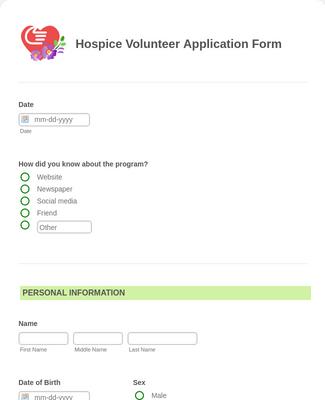 Hospice Volunteer Application Form