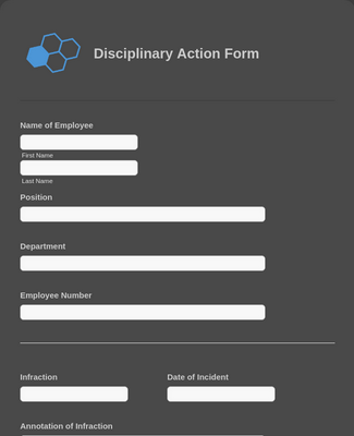 Disciplinary Action Form