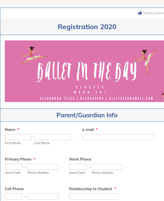 Student Registration Form for Ballet in the Bay