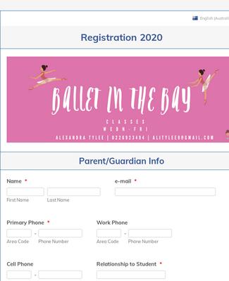 Student Registration Form for Ballet in the Bay