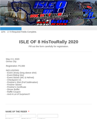 ISLE OF 8 HISTOURALLY 2020 REGISTRATION FORM
