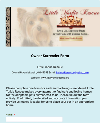 LYR Owner Surrender Form