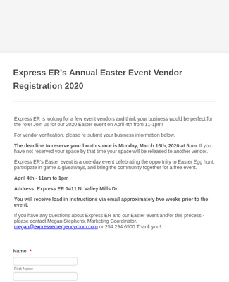 Easter Event Vendor Registration Form