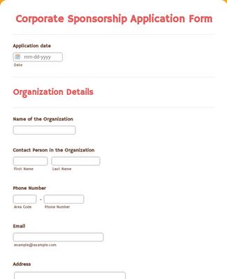 Corporate Sponsorship Application Form