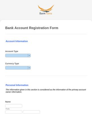 Bank Account Registration Form