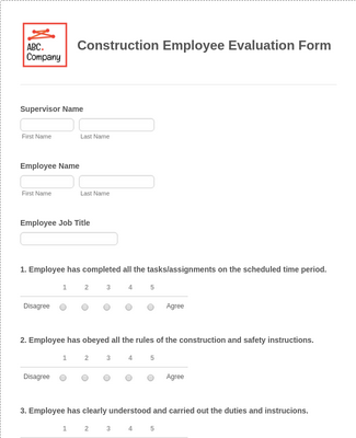 Construction Employee Evaluation Form