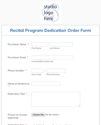 Recital Program Dedication Order Form