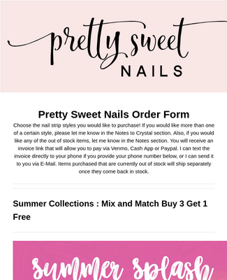 Pretty Sweet Nails Order Form