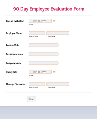 90 Day Employee Evaluation Form