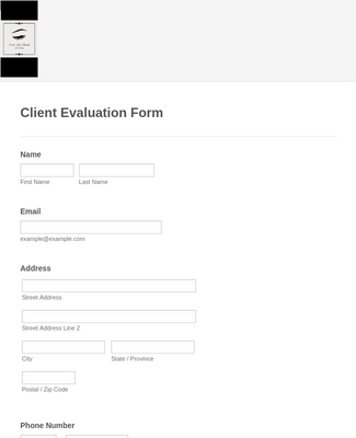 Beauty Service Client Application Form