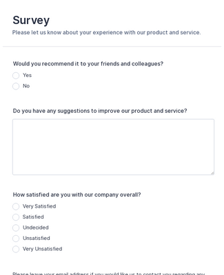 Product Customer Feedback Form Template Jotform
