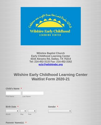 Wilshire ECLC Waitlist Form 2020-21