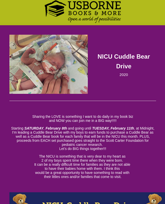 2020: NICU Cuddle Bear Drive