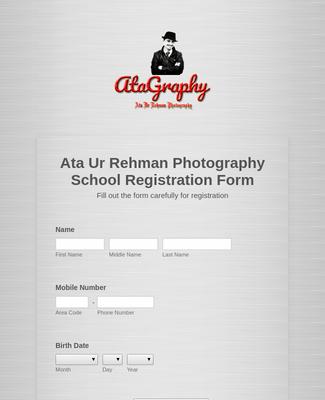 Ata Ur Rehman Photography School Registration Form