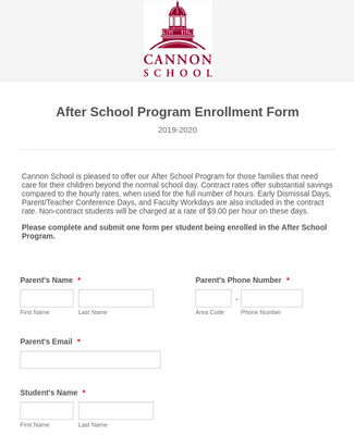 2020-2021 After School Program Enrollment Form