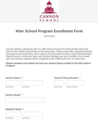 2020-2021 After School Program Enrollment Form
