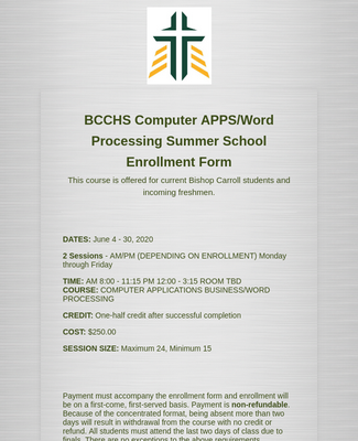 Summer School Enrollment Form