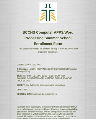 Summer School Enrollment Form