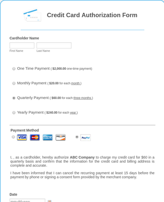 Credit Card Authorization Form Template Jotform