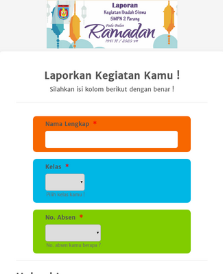 Laporan Kegiatan Ramadhan Siswa Form Template Jotform
