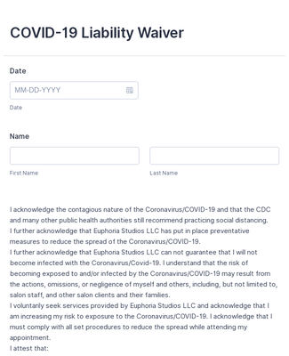 Covid 19 Liability Waiver Form Template Jotform
