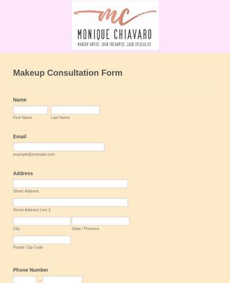 Makeup Consultation Form Template Jotform