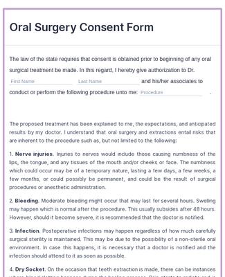 Oral Surgery Consent Form Template Jotform