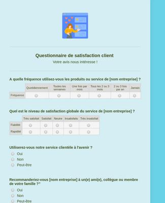 Questionnaire de satisfaction client Modèle du formulaire ...
