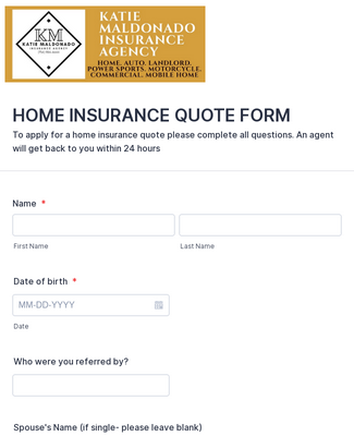 Homeowners Insurance Quote Questionnaire Form Template ...