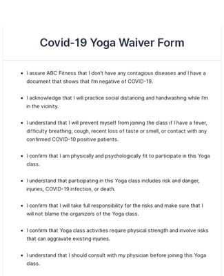 Covid 19 Yoga Waiver Form Template Jotform