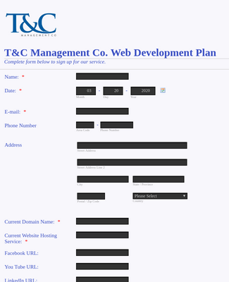Web Development Signup Form
